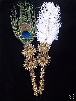 Nikkah pen  ostrich feather and peacock feather pen set of 2 pens