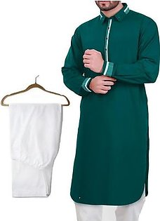 Buy 1 Ready Made Designer Kurta For Men - Design 5 - Sea green + 1 Pajama