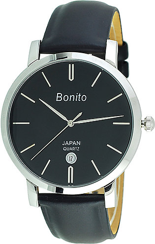 Bonito k-5135 St Blk Stainless Steel Wrist Watch for Men