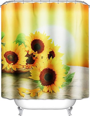 71''x71'' Sunshine Sunflower Waterproof Polyester Shower Curtains With Hooks