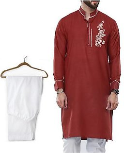 Buy 1 Ready Made Designer Kurta For Men - Design 6 - Mahroon Chest flower + 1 Pajama
