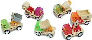Kids Toy, Wooden Educational Construction Trucks , Set Of 4, Multicolor