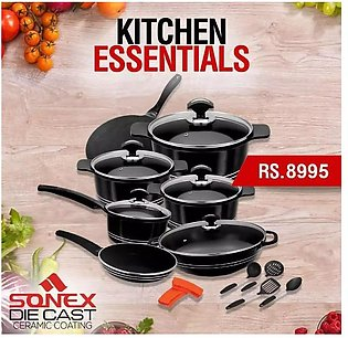 SONEX Deluxe Plus Gift Pack - 18 Pieces - Die Cast - PTF Non Stick Coating wi...
