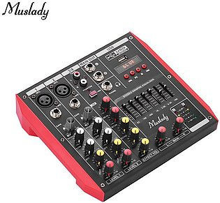 Muslady D4 Portable 4-Channel Mixing Console Mixer 7-band EQ Built-in 48V Pha...