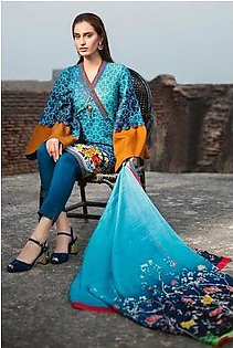 """GA - GA - Gul Ahmed-Summer Collection 2019 D.Blue Silk Collection-3 PC Unstitched-SS-167 -196016"""""""