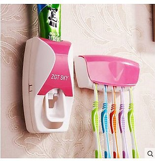 Tooth Paste Dispenser With Toothbrush Holder - Pink Color