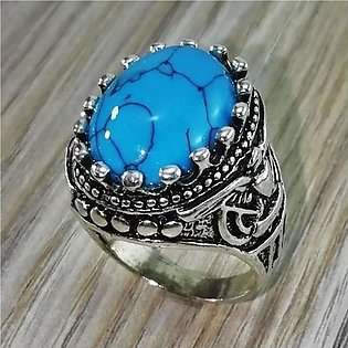 Turkish Blue Stone Silver Ring For men