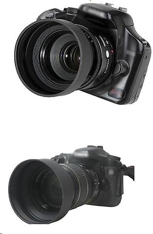 Rubber Lens Hood 3-Stage Collapsible For Nikon Canon Sony Olympus DSLR Camera...