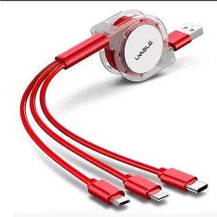 UCable Mobile Phone Charger, 3 in 1 Retractable Charging Cable