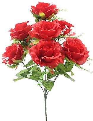 Rose Bouquet Christmas Artificiial Flowers Home Wedding Car Decoration -red
