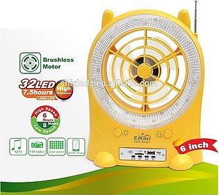 4 In 1 - Multifunction 6 Inch Rechargeable Fan With 32Led Light Fm Radio/Mp3/Usb