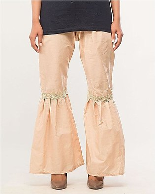 Cotton Gharara pant with lace