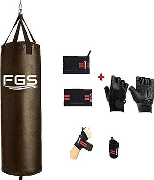 Boxing Bag - 3ft With Gym Wrist Wrap Grip Free Lifting Gloves - Black
