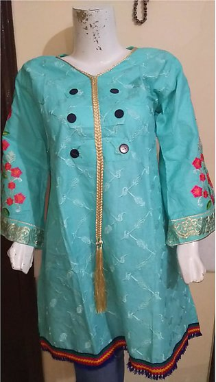 Light blue color embroidered and stitched shirt for females stuff cotton by A...