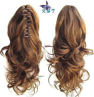 K & T Clip in/on Ponytail Synthetic Hair Extension Kashee - Brown With Golden...