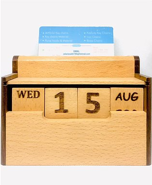 Natural Hand Made Wooden Calendar Forever with Pen Holder and Visiting Card Hol…