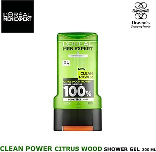 Loreal Men Expert Clean Power Citrus Wood Shower Gel Wash 300 ml for Face Body …