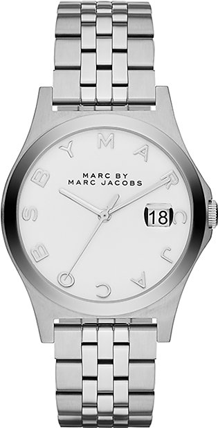 Marc Jacobs Amy White Dial Gold-tone White Leather Strap Watch for Women-MBM1150