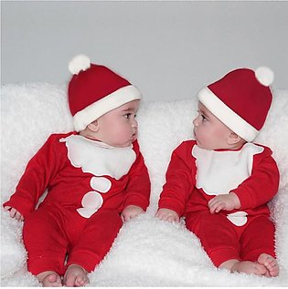 Cute Newborn Infant Baby Boy Fluffy Romper Jumpsuit Hat Christmas Outfits Set