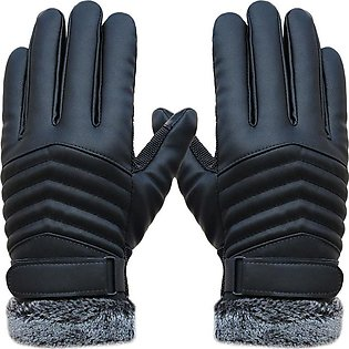Winter Sports Leather Touch Screen Gloves Anti Slip Men Thermal