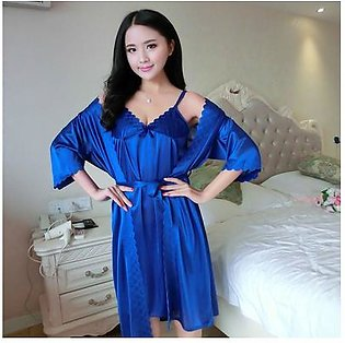Nighty Short Style Ladies Night Suit For Women Blue Colour Colour Gown Style