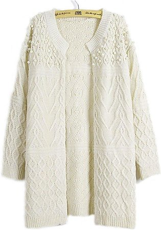MA Women Sweater Long Sleeve Coat Casual Crochet Knitted Solid Color