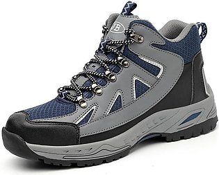 Winter warm smash-proof puncture safety shoes plus velvet high-top safety shoes