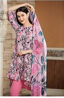 """""""GUL Ahmed-Summer Collection 2019 Pink Printed Chiffon Dupatta-3 PC Unstitched-BLC-16 -195928"""""""