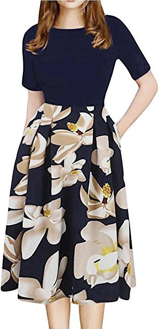 Women Print Patchwork Working High Waist Office Party Casual  Dresses  A21662