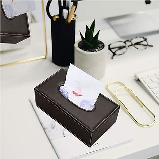 Leather Rectangular Tissue Napkin Paper Box Holder Tray Pumping for Home Office…