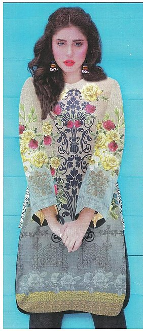 Lawn Digital Printed Shirt / Kurti For Women - UnStitched Pre - Arrival Summe...