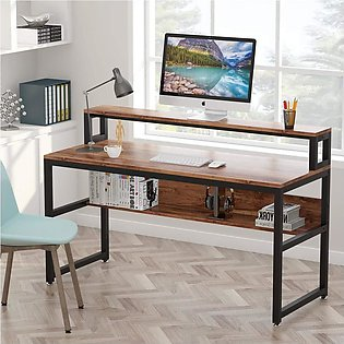 Computer Desk with Shelves, 55  Office Writing Desk with Monitor Stand Shelf
