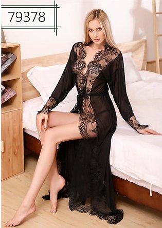 Nighty New Style Long Ladies Night Suit And Casual Dress Black Colour