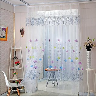 Flowers Print Translucent Curtains Home Windows Decor Tulle Sheer Drapes