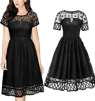 Women Vintage Lace Short Sleeve Wedding Cocktail Evening Party Floral Dress A...