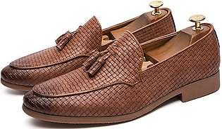 Men British Style Casual Dress Shoes Pointed Breathable Fringed Woven Loafers