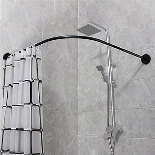 L Shape Adjustable Stainless Steel Shower Curtain Rod Pole 90-130cm Retractable