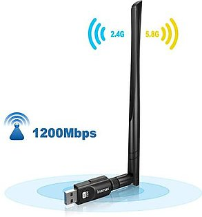 Inamax USB WiFi Adapter 1200Mbps, USB 3.0 Wireless Network WiFi Dongle with 5dBi Antenna for PC/Desktop/Laptop/M ac, Dual Band 2.4G/5G 802.11ac,Support Windows 10/8/8.1/7/Vista/XP, Mac10.5-10.15