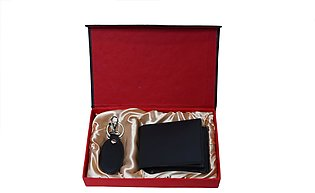 Genuine Leather Wallet + Leather Key-Chain Gift Set - Black