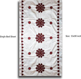 Single Bed Sheet Floral Machine Embroidery