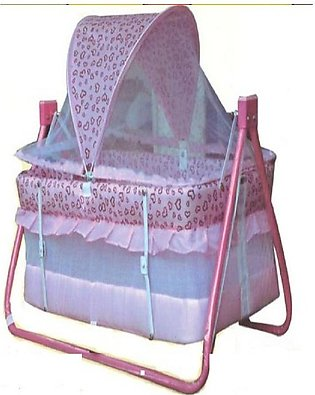 Baby Swing Cot & Cradle With Dual Stand Support - Pink