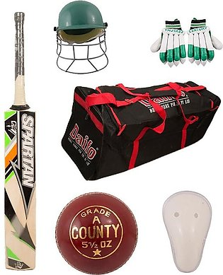 Pack of 6 - Cricket Kit (Hard Ball Bat + Hard Ball + Gloves + Cricket Kit Bag...