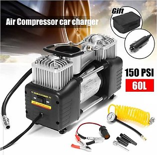 Portable Double Cylinder Air Compressor Tire Inflator, 12V Compact Air Pump for…