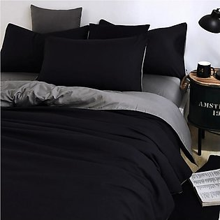 Beddys Studio Solid Colour 6 Pcs  Black And Grey Contrast Comforter Cover Set