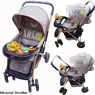 Musical Baby Stroller Pram Push Chair with Toys Adjustable