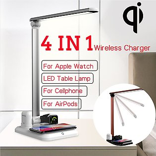 4In1 LED Table Lamp Qi Wireless Charger For iPhone for Apple Watch for Airpod...