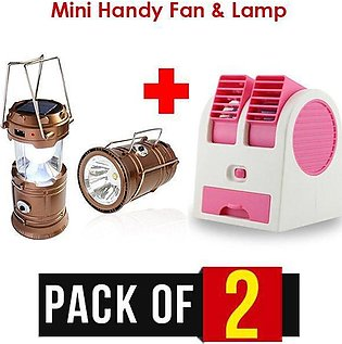 Pack of 2 Mini Air Cooler Table Fan and Portable Solar Charging LED Lamp