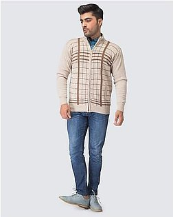 Oxford Lambswool Design Zipper For Men