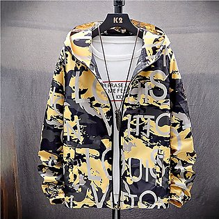 Mens Autumn Casual  Fashion Camouflage Printing Plus Size Hoodie Thin Coat