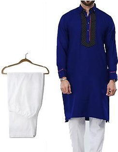 Buy 1 Ready Made Designer Kurta For Men - Design 9 - Navy blue + 1 Pajama